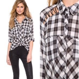 Free People Gauzy Plaid Lace Up Snap Button Shirt